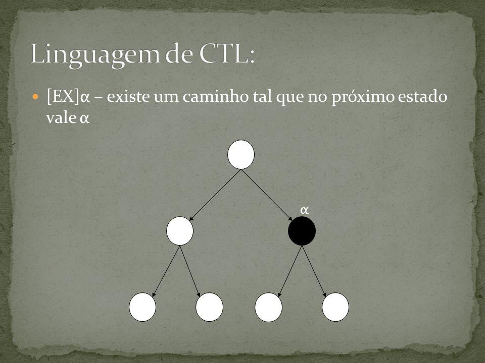 Linguagem de CTL: [EX]α – existe um caminho tal que no próximo estado vale α α